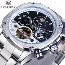 Forsining relógio automático masculino tourbillon mecânica prata quadrada de aço inoxidável moonphase auto liquidação relogio masculino