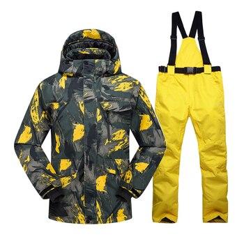 New Hot Ski Suit Men Winter New Outdoor Windproof Waterproof Thermal Male Snow Pants sets Skiing And Snowboarding Ski Jacket Men цена 2017
