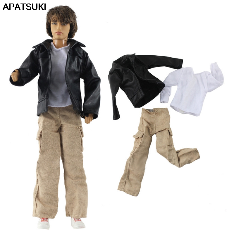 1/6 Boy Doll Clothes For Ken Doll Black Coat & White Shirt & Trousers Pants For Barbie Boyfriend Ken Prince Boy Doll Accessories