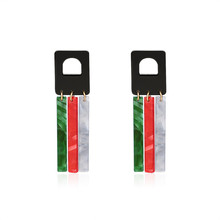 NJ Unique Design Red Green Color Geometric Ladies Pendant Earrings 2019 For Party Creative Hanging Jewelry Gifts