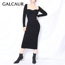 Женское платье с квадратным воротником galcaur облегающее средней