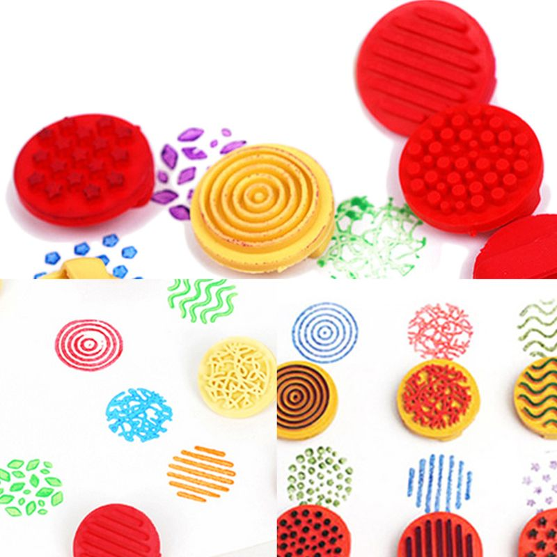 1 Set Children Rubber Finger Seal Stamp Palm Print Kindergarten Creative Art Tool Set Painting Coloring Graffiti Tools