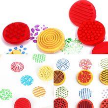 1 Set Children Rubber Finger Seal Stamp Palm Print Kindergarten Creative Art Tool Set Painting Coloring Graffiti Tools QX2D