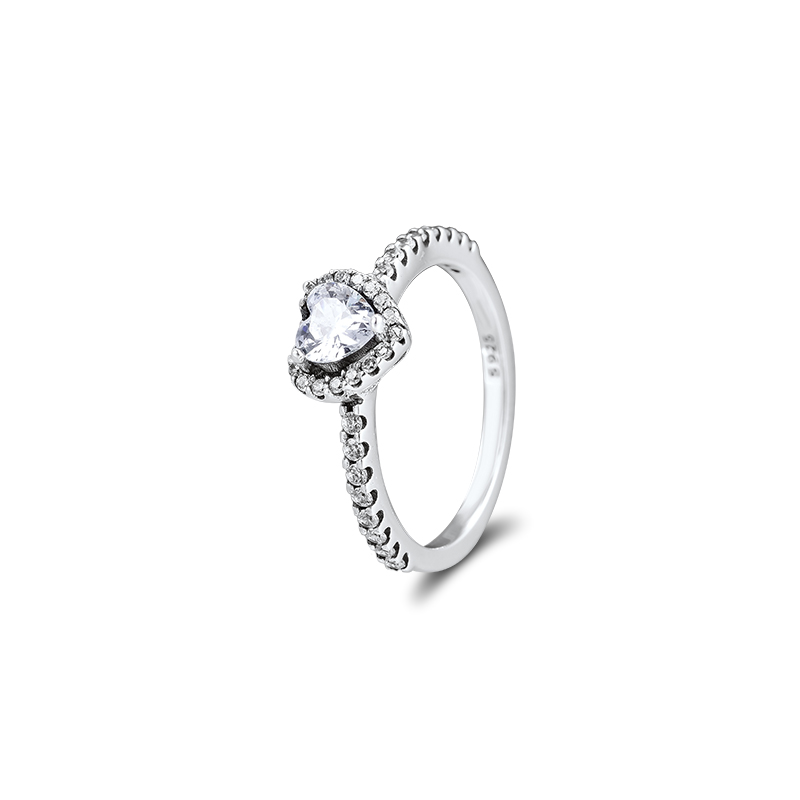 Elevated Heart Ring Genuine 925 Sterling Silver Rings For Jewelry Making Woman DIY Fashion Female Rings Party Wedding Make Up
