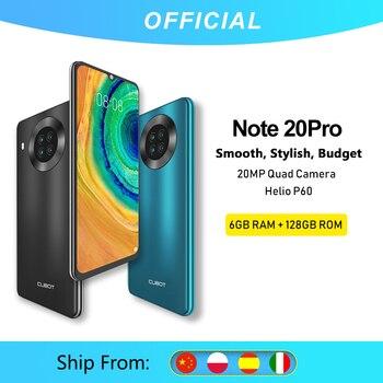 Cubot Note 20 Pro 6GB +128GB Quattro Fotocamera Dello Smartphone Offerta 4 Fotocamere Posteriori Helio P60 NFC Da 6.5 Pollici 4200mAh Batteria Android 10 Doppia SIM del telefono mobile 4G LTE Face ID Cubot Note20 Pro 1