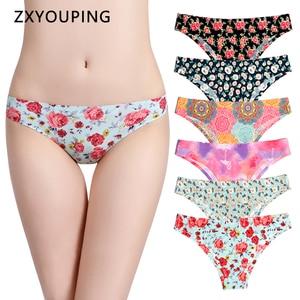 Image 1 - Print Mesh Ademend Naadloze Slipje Vrouwen Ondergoed Sexy Thongs Vrouwelijke Lingerie Tangas XS L Ons Size Slips 12 Kleuren Stijl