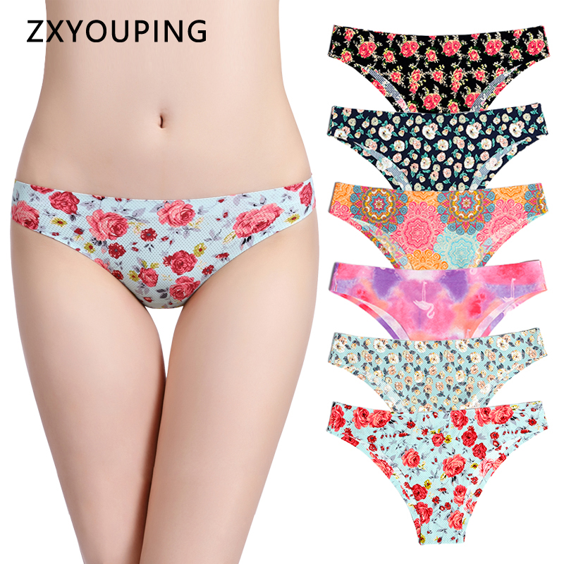 Print Mesh Breathable Seamless Panties Women Underwear Sexy Thongs Female Lingerie Tangas XS-L US Size Briefs 12 Colors Style