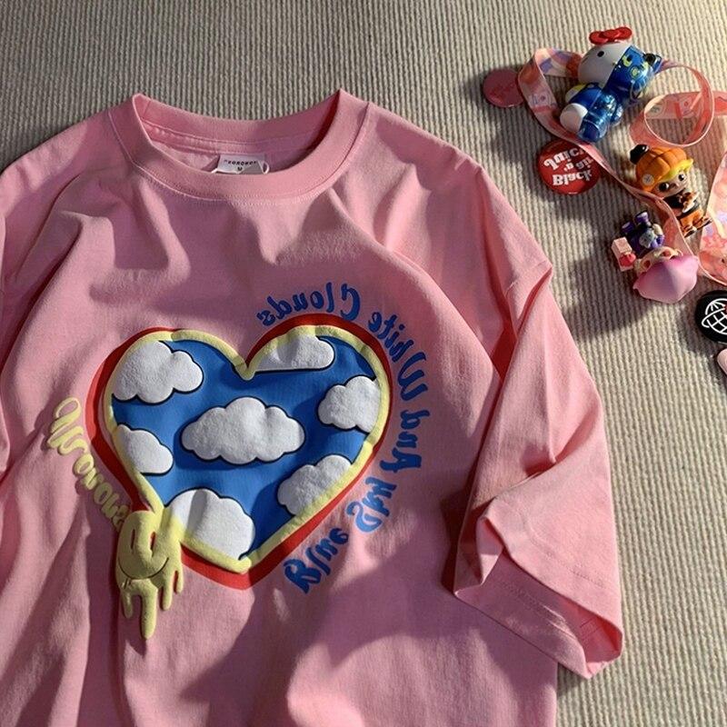 Футболка женская с коротким рукавом, хлопковая Свободная рубашка с круглым вырезом, с принтом «Love Cloud», в стиле граффити, большие размеры, в с...