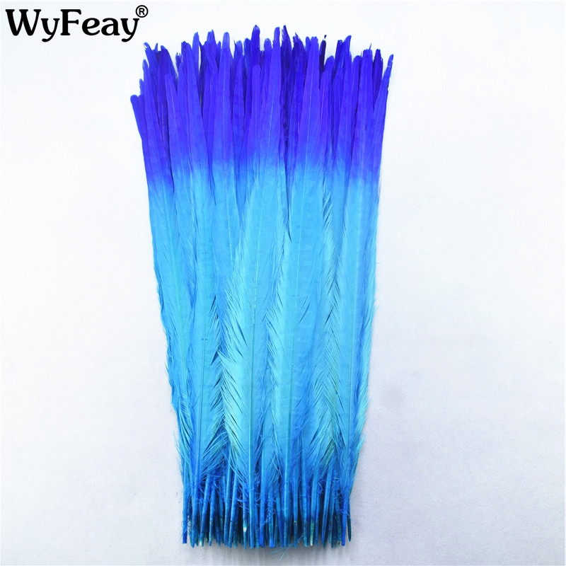 100Pcs/lot 40 45CM 16 18inch Two Colors Beautiful Pattern Ringneck Pheasant Tail Feathers for Crafts Carnival Decoration Plumes-in Feather from Home & Garden    1
