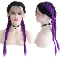 RONGDUOYI Braided Long Wig with Baby Hair Ombre Purple Lace Front Synthetic Wigs for Women 2 Braids Heat Fiber Middle Part Wig