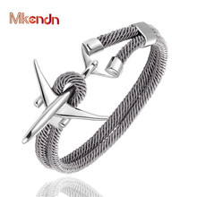 MKENDN Fashion Stainless Steel Airplane Glider Anchor Rope Leather flight Bracelets Men Women aviator Style