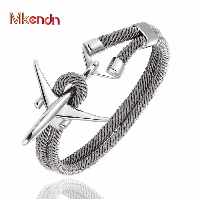 MKENDN Fashion Stainless Steel Airplane Glider Anchor Rope Leather flight Bracelets Men Women aviator Style