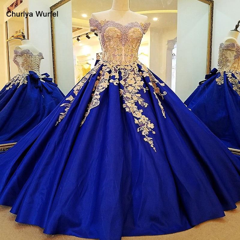 LS65477 Royal Blue Evening Dress Lace Long Corset Back Ball Gown Satin Evening Party Dresses Robe De Soiree Off The Shoulder