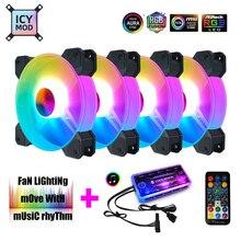 Coolmoon ventilador RGB de 12CM, 5V, A RGB rítmico de música, chasis silencioso, Kit de sincronización AURA, Control Musical, enfriador de agua personalizado para Mod 120mm