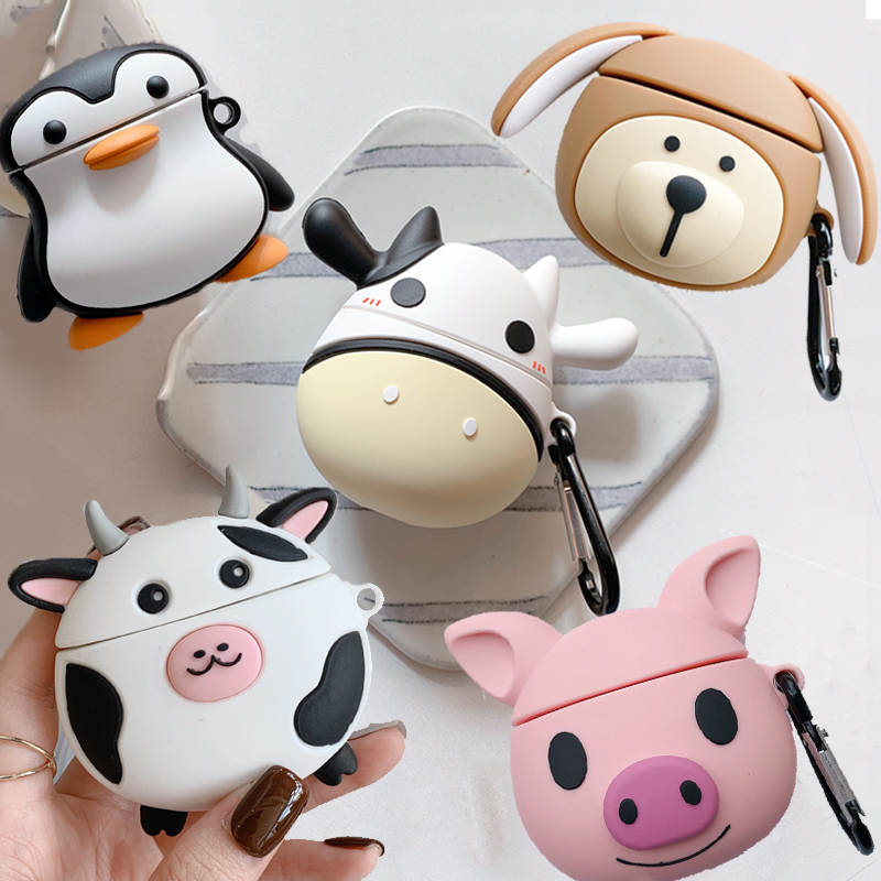 For AirPods Case 3D Cute Cartoon Milk Cow Dog Pig Penguin Cover For Apple Airpods 2 Bluetooth Wireless Earphone Charging Box