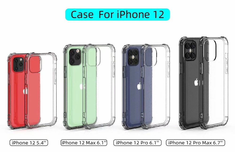 Soft TPU Transparent Airbag Shockproof Protective Back Cover Case For iPhone 12 Series