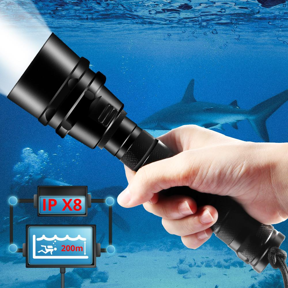IPX8 Diving Flashlight Professional Ultra Powerful 5T6 Waterproof Diving Scuba Flashlights Underwater Torch Use 18650 Battery