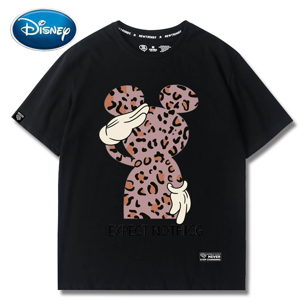 Disney Sweet Mickey Mouse Leopard Letter Cartoon Print O-Neck Pullover Short Sleeve T-Shirt Chic Fashion Women Tee Tops 6 Colors