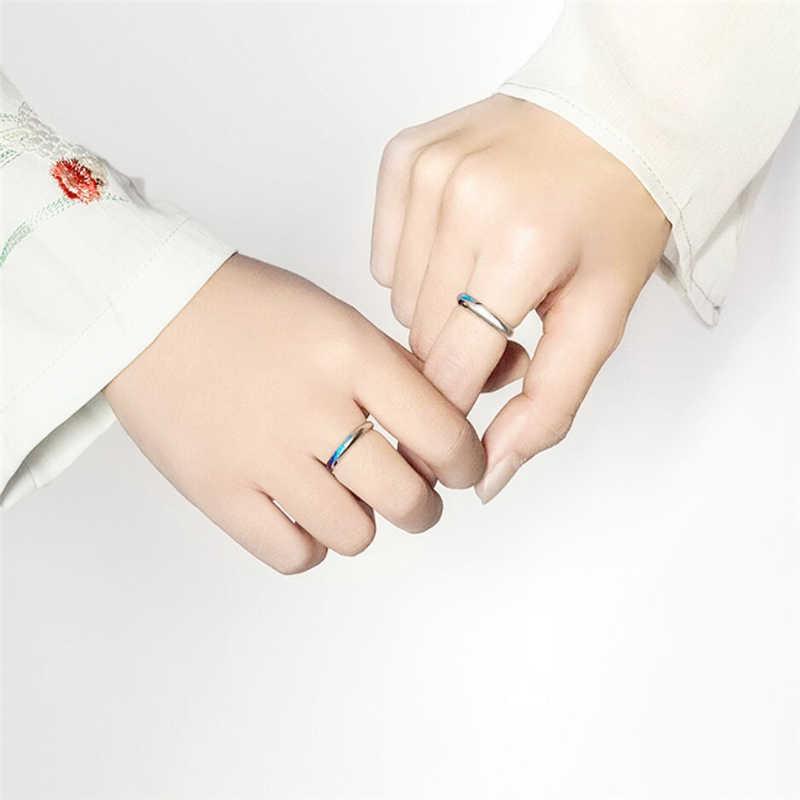 唯一メモリオリジナルブルードリップ釉薬スプレー 925 スターリングシルバー女性サイズ変更可能なオープニングロマンチックなカップルリング SRI524