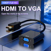 HDMI to VGA Adapter Upgraded Version Converter 1080P VGA HDMI Adapt with Audio Cable HDMI VGA Adapt For PS4 Laptop PC Projector
