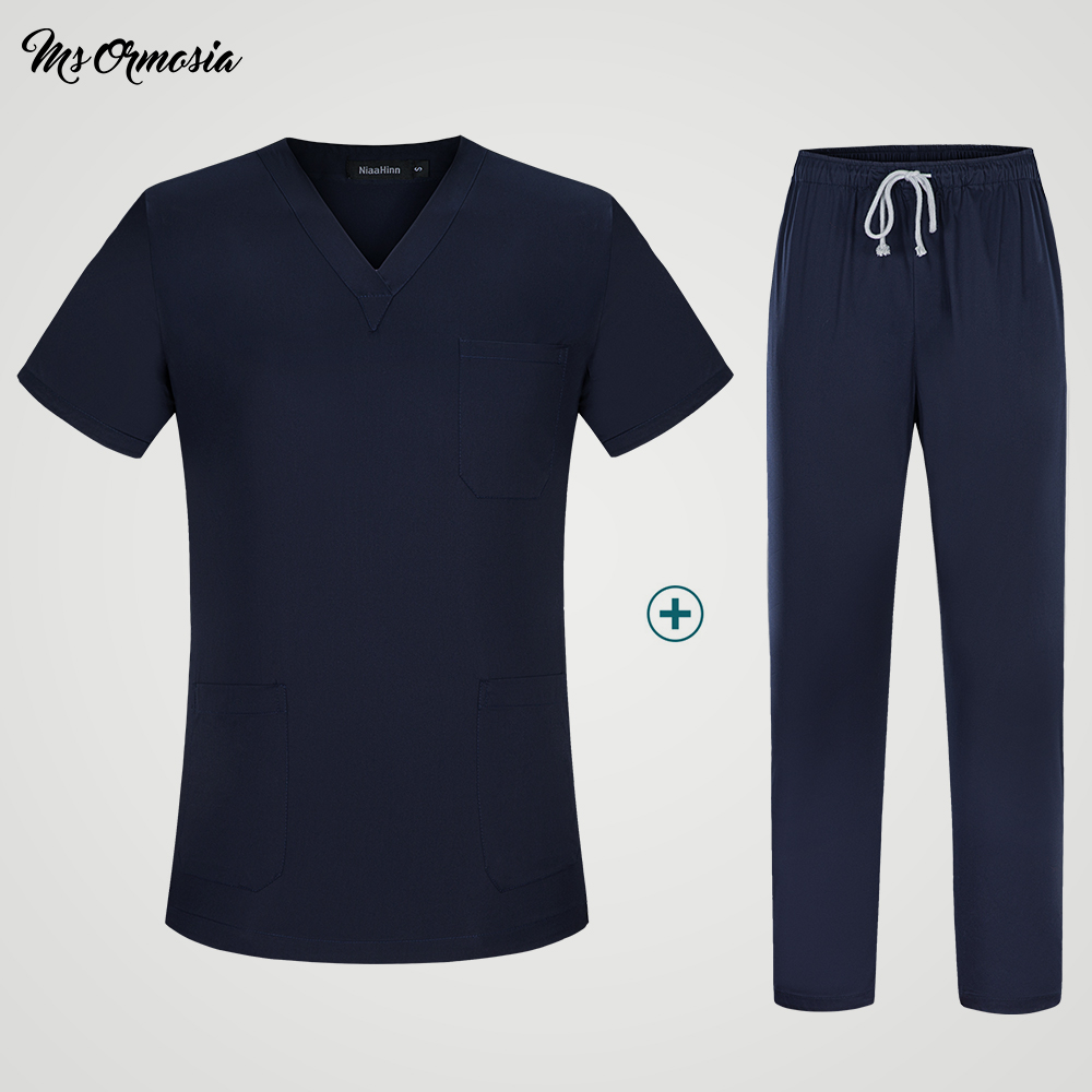 Breathable Women Scrub Tops Medical Uniforms Nurse Tops And Pants Summer Surgical Clothing Hospital Work Adult Scrubs Outfit