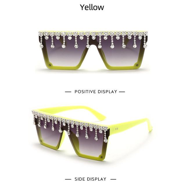 Купить новые квадратные солнцезащитные очки большого размера с бриллиантами картинки цена