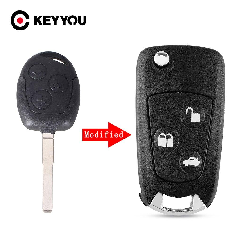 Чехол KEYYOU для ключей с 3 кнопками, откидной складной чехол с дистанционным управлением для Ford FOCUS MONDEO Fiesta ка