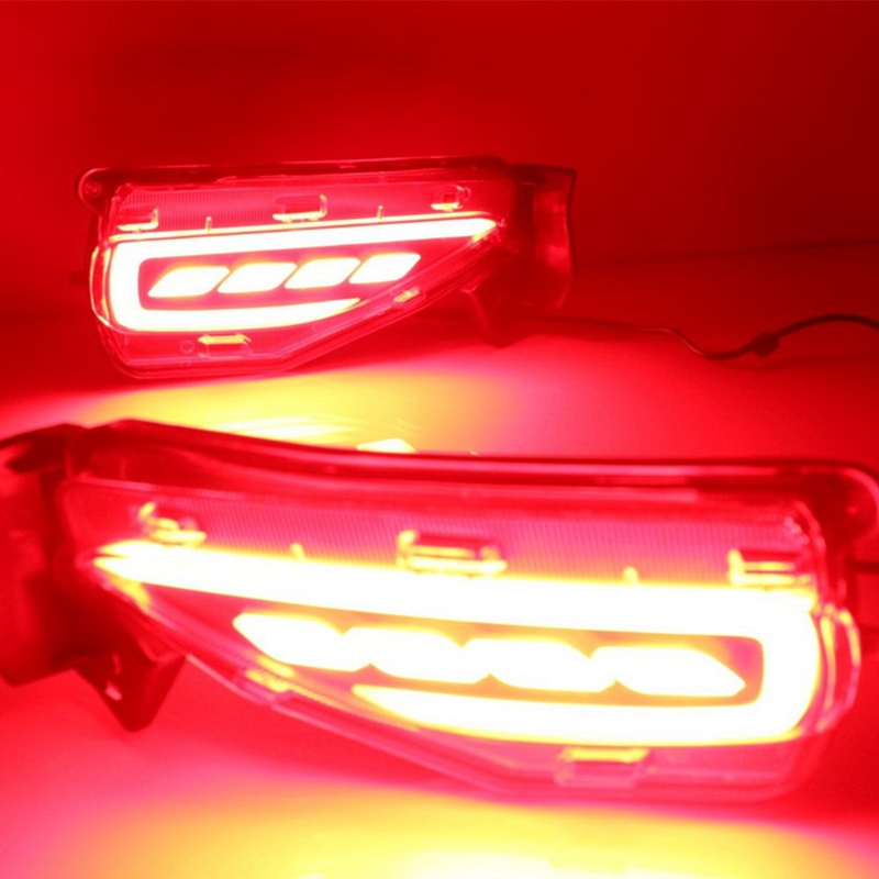 Paire de DHBH-1 feux de frein de guidage lumière LED feux de conduite de nuit clignotant pour Toyota Fortuner 2016-2019, avertissement de sécurité Li
