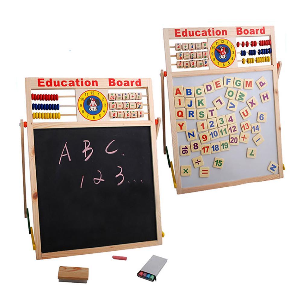 Abacus Wooden Letters Numbers Blackboard Magnetic Board Kids Educational Toys