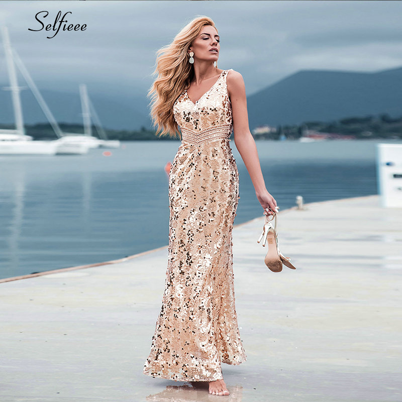 Image 4 - Sparkle women dresses Long Mermaid Sequined Tank V Neck  Sleeveless Sexy Maxi Summer Dresses 2020 Cheap Elegant Party  DressesDresses