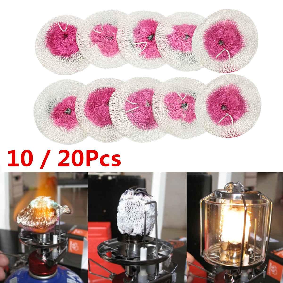 20pcs Mesh Camping Lantern Mantles Lamp Mantle Paraffin Lamp Gas Lamp Cover