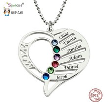StrollGirl 925 Sterling Silver Engraved Heart Birthstones Pendant Necklace Personalized Custom Name Collars Mothers Day Gift