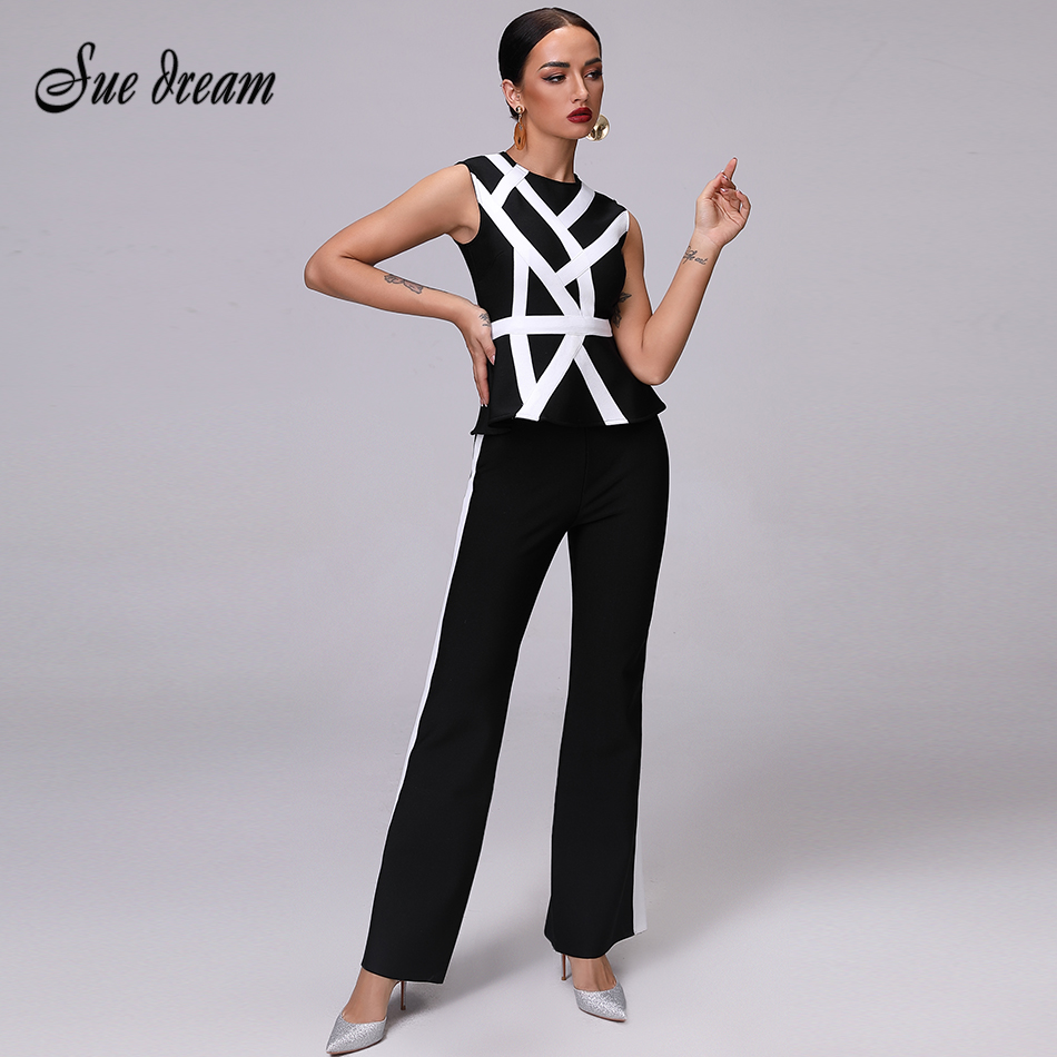 2018 Fashion Bandage Jumpsuit  Women Set Striped White Tops&Pant 2 Two Pieces Set Night Out Celebrity Evening Party Women Set