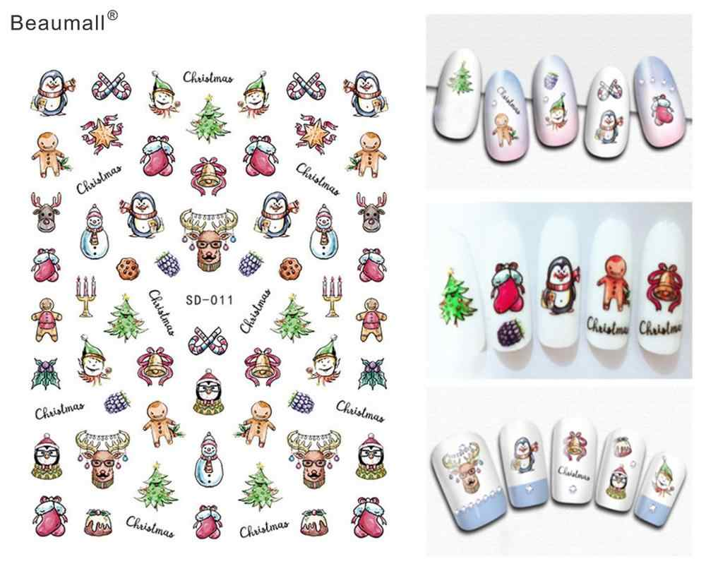Di natale Nails Art Manicure Colla Schiena Decal Decorazioni Nail Sticker Per Unghie Consigli di Bellezza