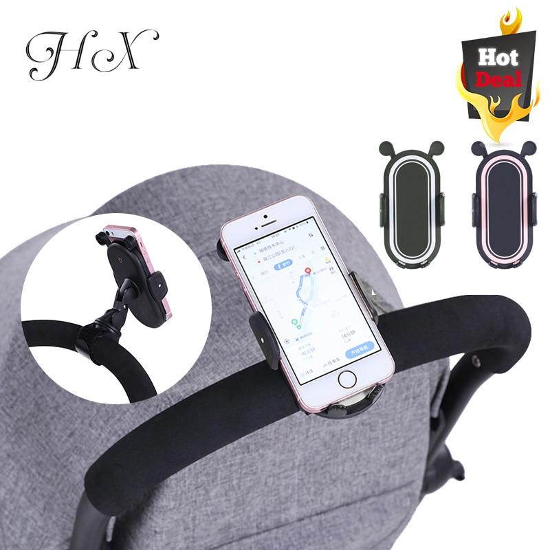 HX 360 Degree Rotate Baby Stroller Accessories Universal Holder Adjustable Mount Bracket Mobile Phone Stander Black White Pink
