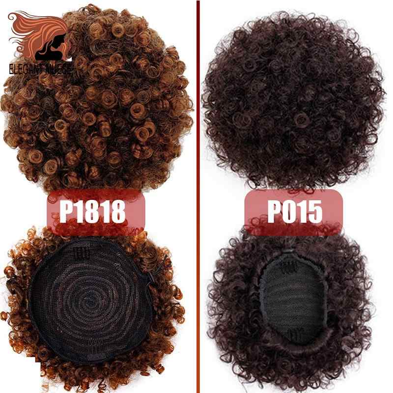 Элегантный Муз конский хвост шиньон наращивание волос Синтетический слоеный афро короткий кудрявый афро булочка шнурок конский хвост шиньон