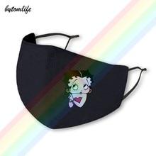 Bandana imprimer betty boop máscara de impressão poliéster lavável respirável reutilizável impermeável e dustproof algodão boca máscara