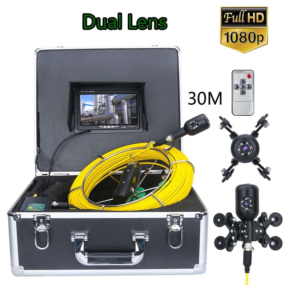 7 polegada 30m 1080p hd dupla câmera de drenagem lente esgoto pipeline industrial endoscópio tubo inspeção câmera vídeo