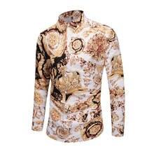 Мужские вечерние рубашки большого размера с 3D принтом королевской короны, нарядные рубашки с цветочным принтом, повседневные Клубные рубашки унисекс с длинным рукавом, приталенные Роскошные Рубашки