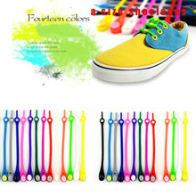 12pcs Fashion Unisex Colorful Tie Shoelaces Elastic Silicone Shoes Laces For Sport Sneaker Accessories(China)