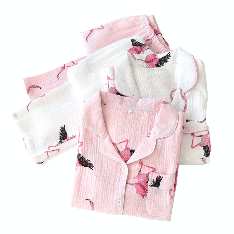 HOT SELLING Women Cartoon Flamingo Printed Pajamas Set Comfort Gauze Cotton Sleepwear Full Sleeve Cardigan+Pants Femme Homewear