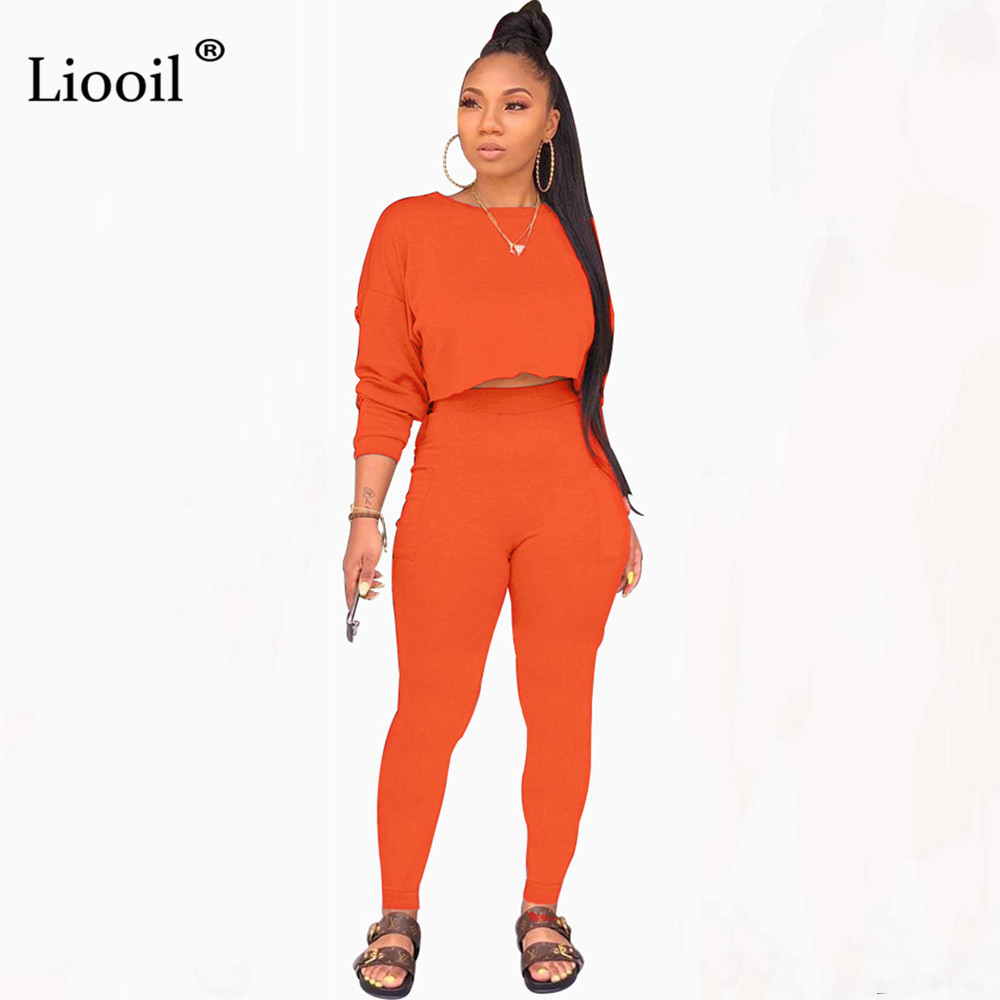 Liooil Tracksuit Women Two Piece Sexy Outfits Fall 2019 Long Sleeve O Neck Loose Sweatshirt Tight Long Pants Joggers Suit Sets