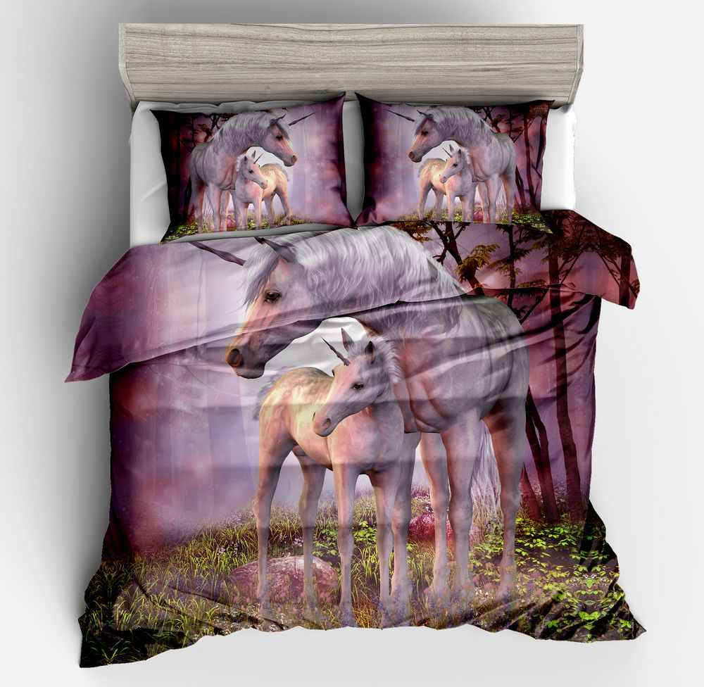 Cavalo unicórnio padrão capa de edredão conjunto de cama conjunto colcha capa de cama roupas com fronhas 2/3pcs sem consolador