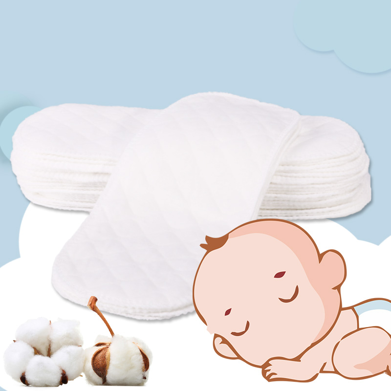 6 Pcs Baby Nappies Reusable Baby Infant Newborn Cloth Eco-friendly Diaper Nappy Liners Insert 3 Layers Cotton Hot Sale