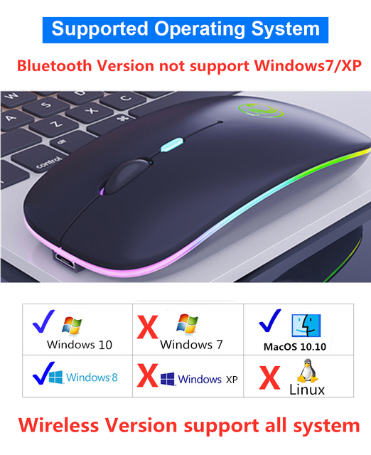 Wireless Mouse RGB Bluetooth 5.0 Mouse Computer Mouse Ergonomic Silent Mause Rechargeable Luminous Optical Mice For PC Laptop 3