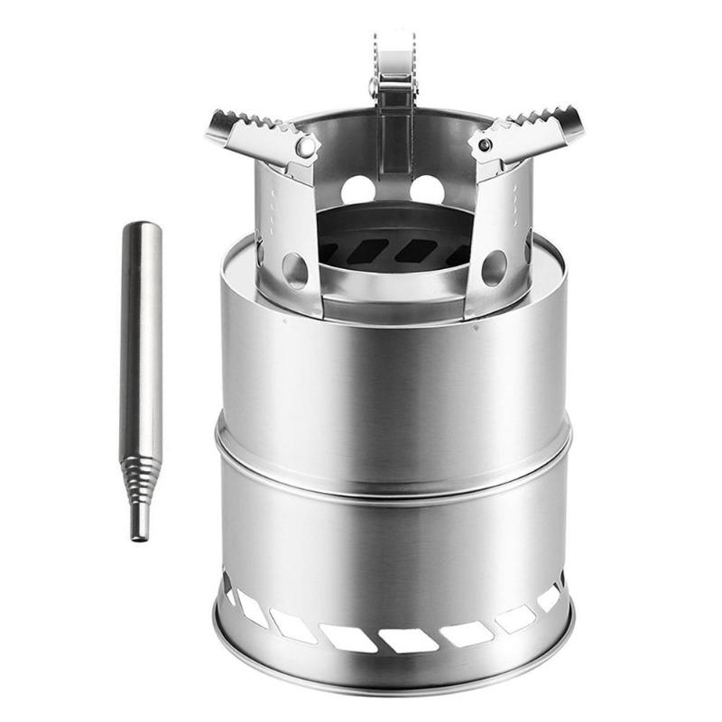Stainless Steel Folding Wood Stove with Blowtube for Outdoor Hiking Picnic BBQ Lightweight Design Reduce Backpack Weight image