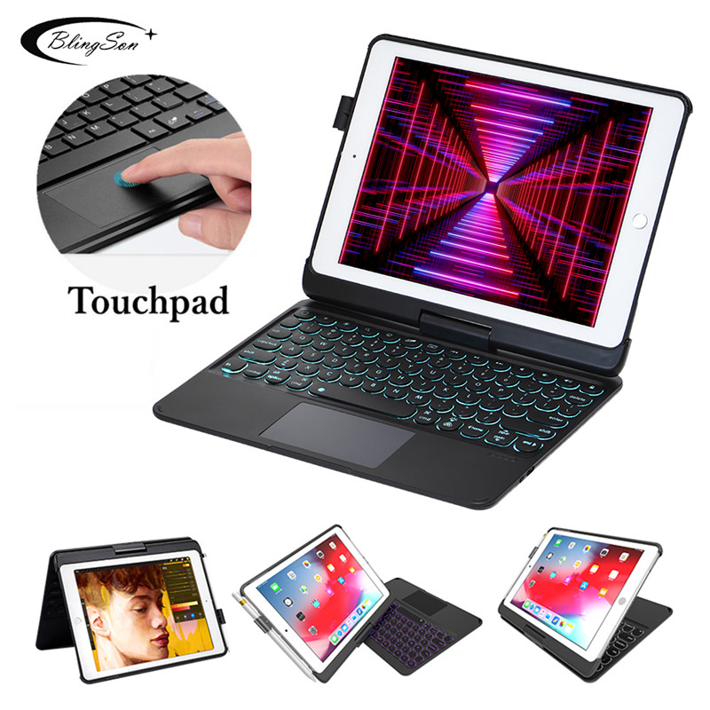 For iPad 9.7 2017 2018 Keyboard Case for iPad Pro 9.7 Bluetooth Touchpad Keyboard Cover for iPad 5 6 Air 1 2 Stand 360 Rotation
