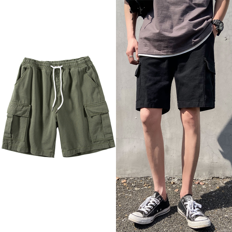 2020 men cargo shorts streetwear ribbons men's casual shorts knee length short pants men bermudas masculina