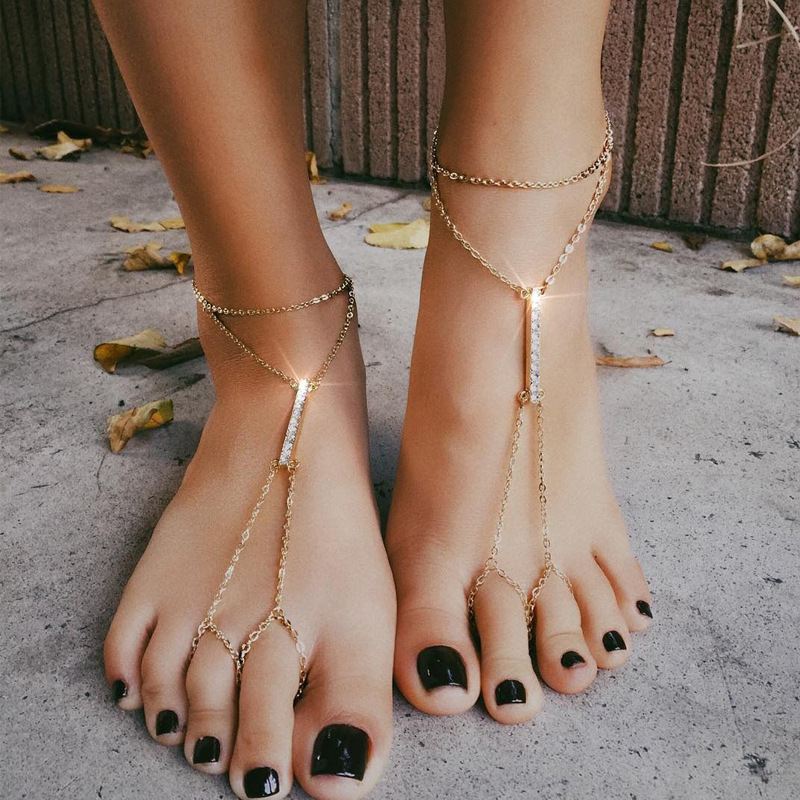 Boho Anklet Foot Chain Ankle Summer Bracelet Bar Crystal Charm Sandals Barefoot Beach Foot Bridal Jewelry Wholesale A005