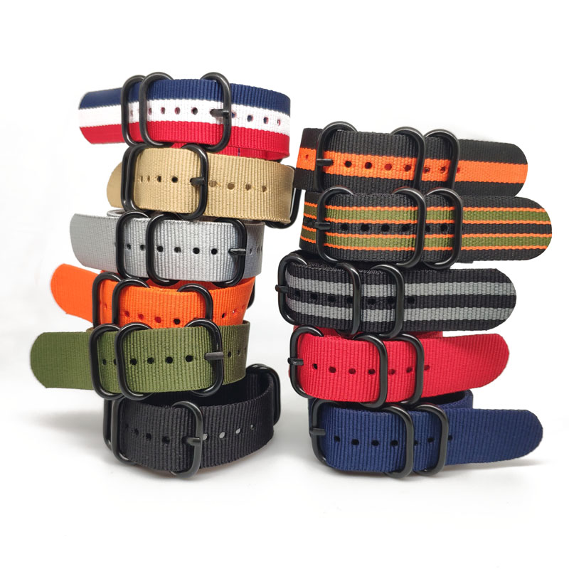 NATO Nylon Strap 20 22 24 Mm Solid Bracelet Military Nato Fabric Nylon Watch Straps Woven Zulu Straps Bands Black Buckle Belt